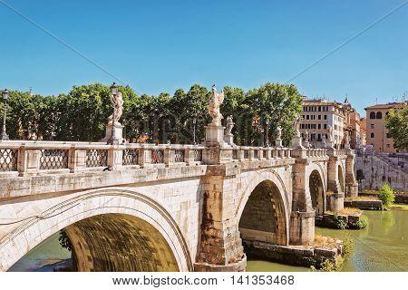 Ponte Sant Angelo Bridge In Rome Italy
