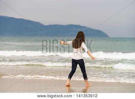 Young Girl At The China Beach In Danang Vietnam