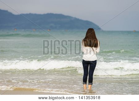 Young Girl In The China Beach In Danang Vietnam