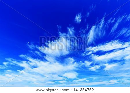 Beautiful blue sky with clouds in summer day