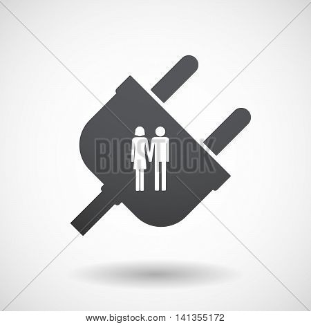 Isolated Male Plug With A Heterosexual Couple Pictogram