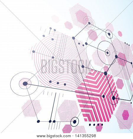 Bauhaus art dimensional composition perspective magenta modular vector backdrop with honeycombs.