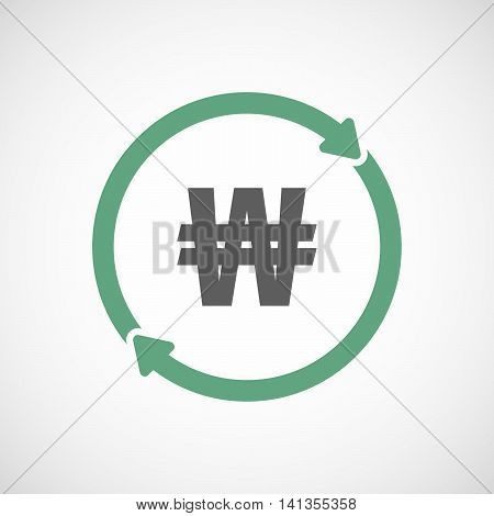 Isolated Reuse Icon With A Won Currency Sign