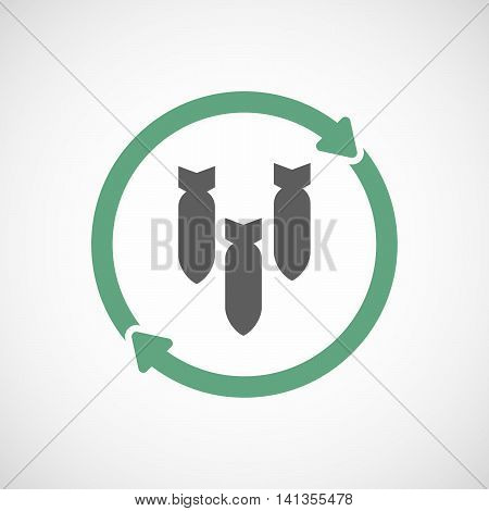 Isolated Reuse Icon With Three Bombs Falling