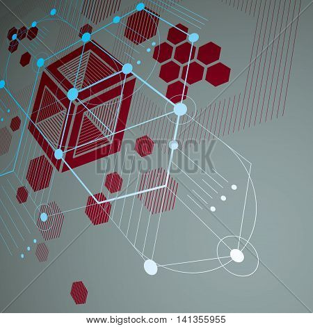 Modular Bauhaus 3d vector red background created from simple geometric figures like hexagons and lines.