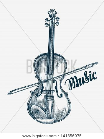Hand-drawn violin vector illustration. Sketch musical instrument