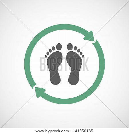 Isolated Reuse Icon With Two Footprints