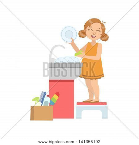 Girl Washing The Dishes In Tap Simple Design Illustration In Cute Fun Cartoon Style Isolated On White Background
