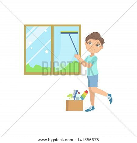 Boy Washing The Window With Wiper Simple Design Illustration In Cute Fun Cartoon Style Isolated On White Background