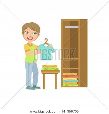 Boy Putting Clean Clothes In Dresser Simple Design Illustration In Cute Fun Cartoon Style Isolated On White Background