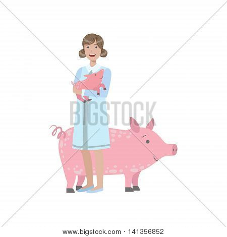 Woman In White Gown Holding A Piglet With Adult Pig Behing Her Simple Childish Flat Colorful Illustration On White Background