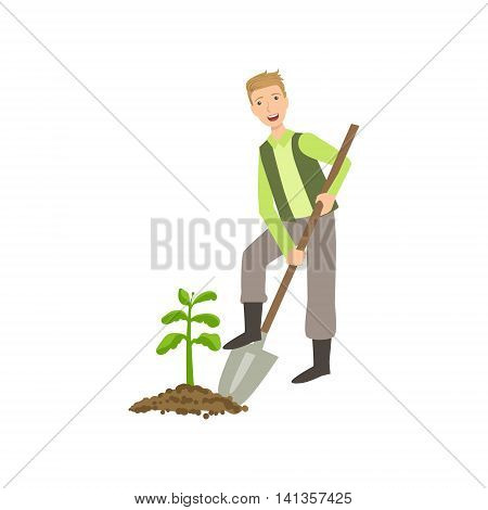 Guy Digging The Soil Around Plant Simple Childish Flat Colorful Illustration On White Background