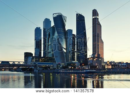 Moscow - August 04, 2016: Moscow International Business Center Moscow-city. Skyscrapers At Night