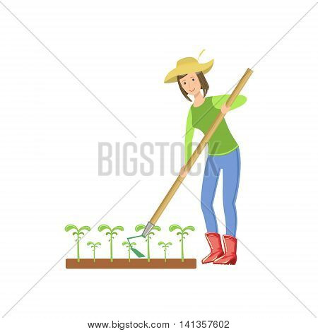 Woman Chopping The Ground Around Crops Simple Childish Flat Colorful Illustration On White Background