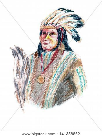 Portrait of an old Indian in a headdress with feathers, war bonnet. Hand drawn graphics, mixed media, white background.