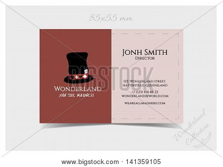 Business Card Template - Hatter Hat from Wonderland. Print Ready Vector Illustration for Graphic Projects Real Life Parties and the Internet.
