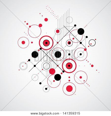 Vector abstract background created in Bauhaus retro style.