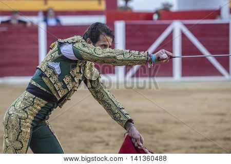 Sabiote SPAIN - August 23 2014: Spanish bullfighter Juan Jose padilla with sword in hand right looks to concentrate bull ready to kill in the Bullring of Sabiote Spain