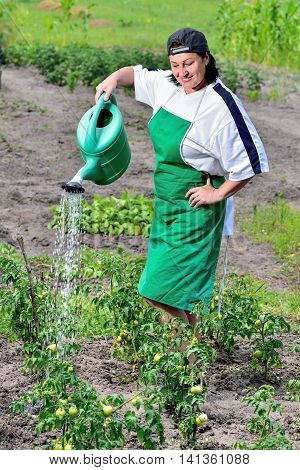 woman in the garden to care for their plants