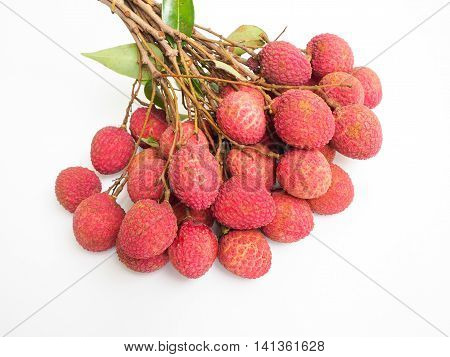 Fresh Lychee on white background. Fruit form thailand.