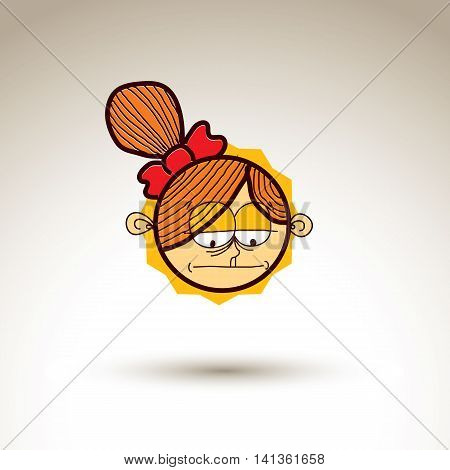 Vector art hand drawn illustration of sad person. Web avatar for social interaction allegory drawing.