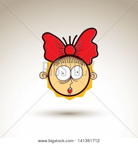 Vector graphic art drawing of kid face hand drawn cute surprised girl with stylish haircut.