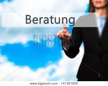 Beratung (advice In German) - Successful Businesswoman Making Use Of Innovative Technologies And Fin