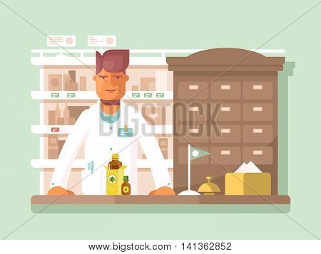 Pharmacist at the pharmacy. Drugstore shop, medication and assistance. Vector illustration