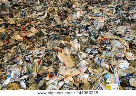 Used paper for recycling rubbish garbage storage