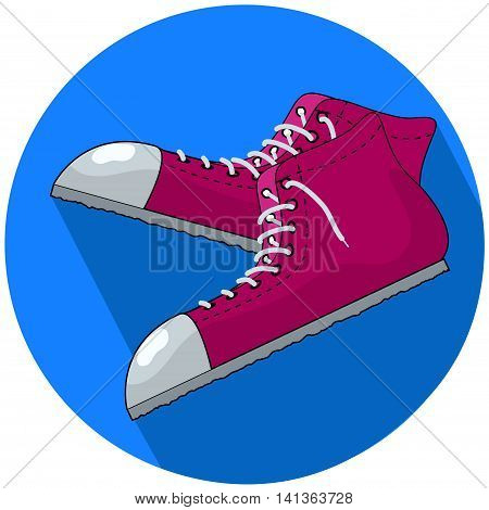Red sneakers vector illustration in flat style. Single sneakers with white ribbon toe cap and loose laces. Pair of casual shoes for street life joggling stylish fashion look. Sport footwear isolated