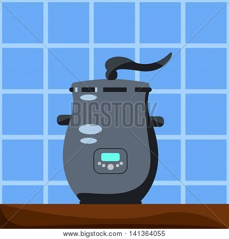 Modern steamer pot. Vector illustration in flat style. Steam food boiler. Small house appliance. Kitchen machine. Breakfast or lunch cooking. Cartoon style square image for modern home