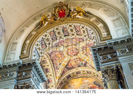 Bologna Italy - July 20 2016: Fresco in chancel of Metropolitan Cathedral di San Pietro of Bologna. Emilia-Romagna Italy.