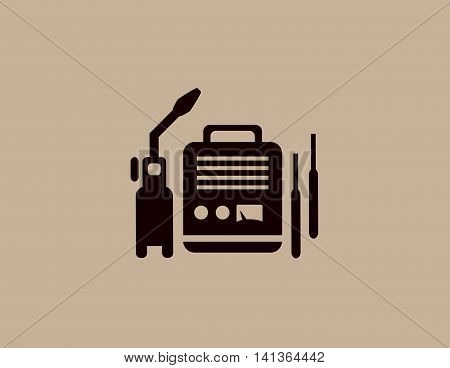 background with isolated modern welding machine icon