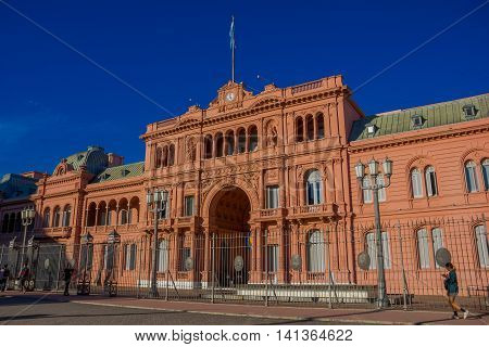 BUENOS AIRES, ARGENTINA - MAY 02, 2016: the main entrance of the government palace in argentina with the flag of the contry on the top of it.