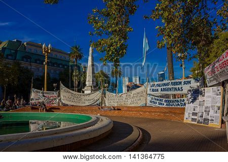 BUENOS AIRES, ARGENTINA - MAY 02, 2016: Protest banner claiming the falkland islands in plaza de mayo.