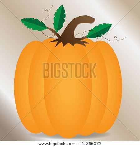 Orange pumpkin with leaves and vines with brown gradient background with a shadow under pumpkin background