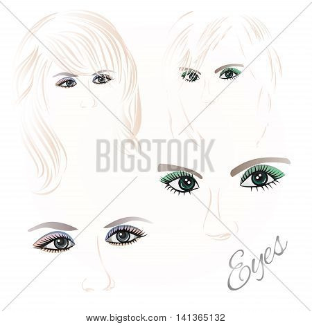 Females eyes green and blue with the contour face and hair set of three vector illustration