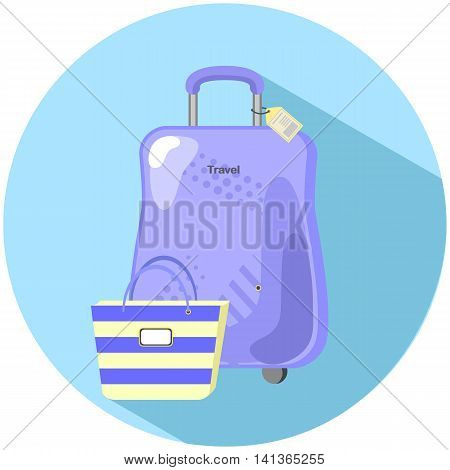 Travel suitcase and beach bag flat style vector illustration set of summer travel hand luggage in flat style purple baggage case with yellow tag and striped beach handbag flight trip luggage icon