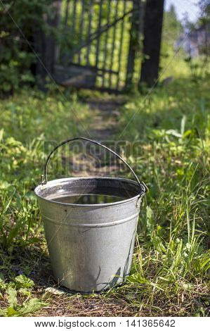 metallic bucket with pure drinking water stands on the footpath in the kitchen garden the background wicket and a fence