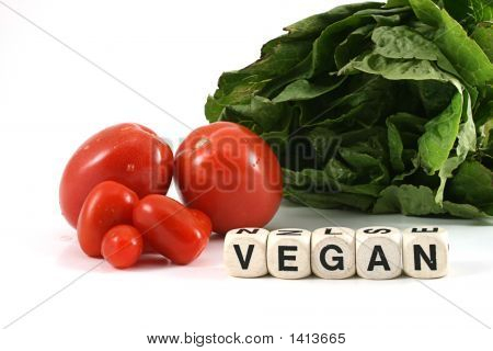 Lettuce And Tomatoes And The Word Vegan
