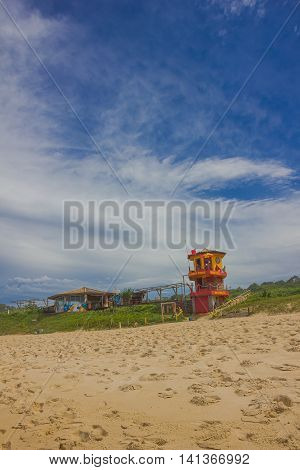 FLORIANOPOLIS, BRAZIL - MAY 08, 2016: nice and colorfull lifeguard hut located in mole beach.