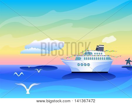 Vibrant banner template with cruise liner ship white clouds and seagull over sea vibrant optimistic sea landscape with the glamour cruise liner and tropical paradise nature summer holiday vector