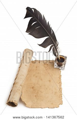 Clean old sheet of old paper with a place for your text, Quill pen and ink isolated on white