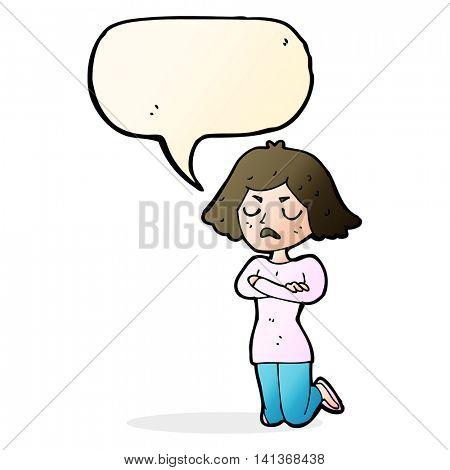 cartoon annoyed woman with speech bubble