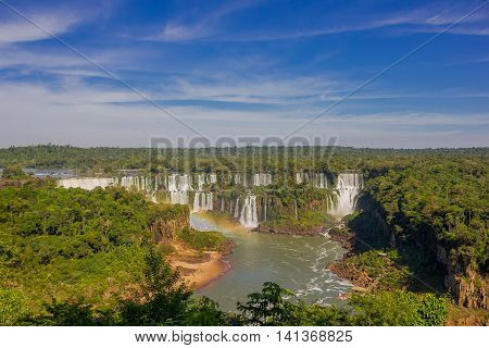 IGUAZU, BRAZIL - MAY 14, 2016: waterfalls of the iguazu river located in the border between argentina and brazil.