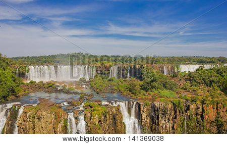 IGUAZU, BRAZIL - MAY 14, 2016: iguazu are the largest set of waterfalls in the world with 275 falls.