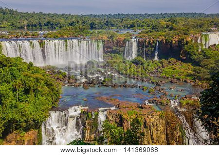 IGUAZU, BRAZIL - MAY 14, 2016: nice view from the brazilian side of the waterfalls