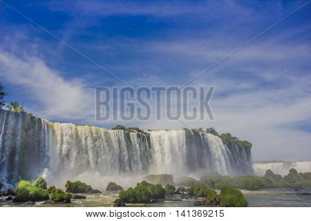 IGUAZU, BRAZIL - MAY 14, 2016: nice view from the bottom of the waterfalls from the brazilian side.