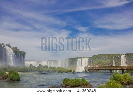 IGUAZU, BRAZIL - MAY 14, 2016: nice view of the bridge over the iguazu river located close to the waterfalls.