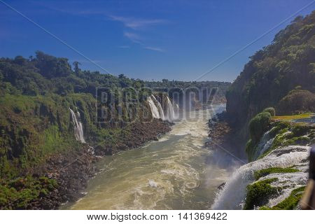 IGUAZU, BRAZIL - MAY 14, 2016: nice view from the iguazu river from the top of one waterfall with the blue sky as background.
